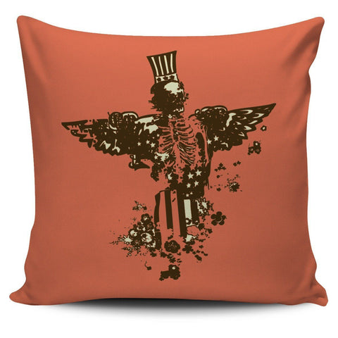 Uncle Sam Skeleton Design Pillow Cover