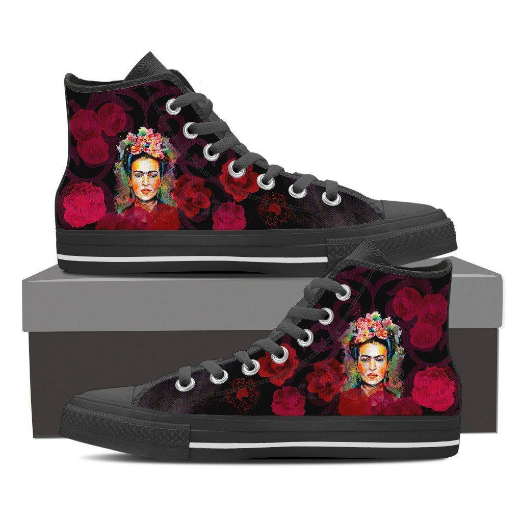 Women s Frida Kahlo High Tops - Red Roses – The Window Shop 6b7886f396
