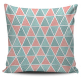 Coral and Turquoise Triangles Pillow Cover