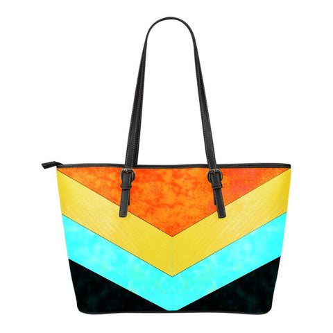 Orange and Turquoise Small Leather Tote