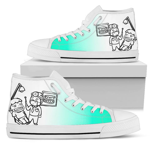 Women's Dental Dentist Cartoon Patient High Tops