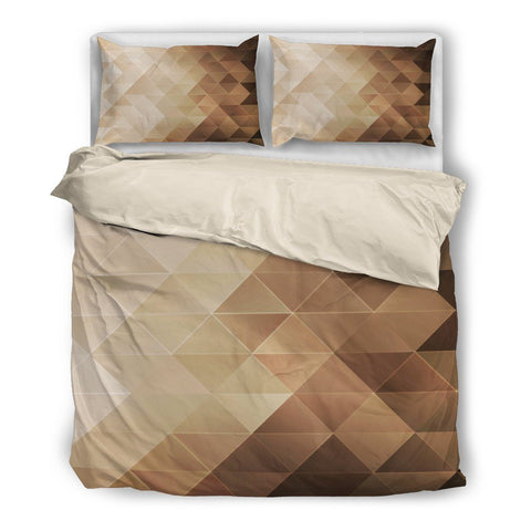 Brown Geometric Duvet Set