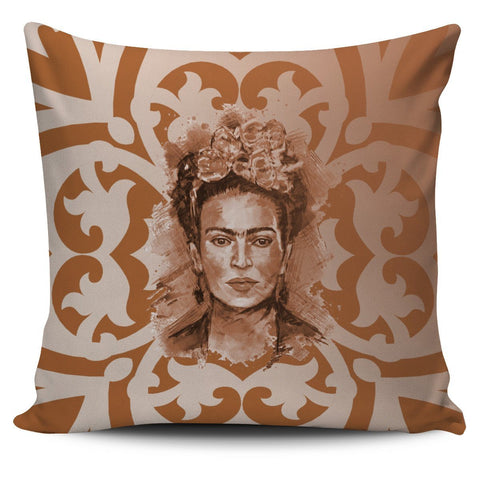 Frida Kahlo Brown Pillow Cover