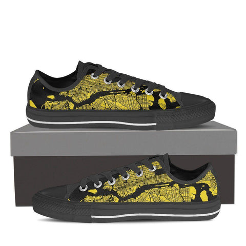 Women's NYC Map Low Top Gold