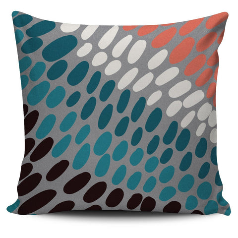 Coral Teal and Gray Stipple Dot Pillow Cover