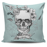 Pale Green Day of the Dead Skull Pillow Cover