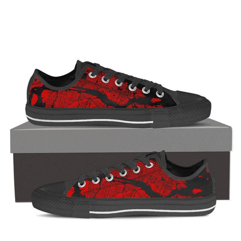 Men's NYC Map Low Top Red