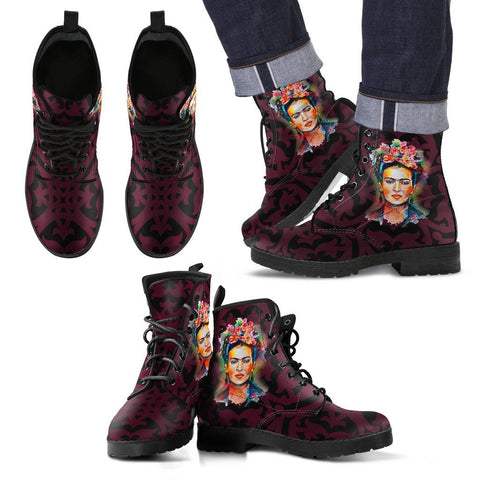 Men's Frida Kahlo Black and Burgundy Boots