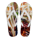Abstract Palm Flip Flops