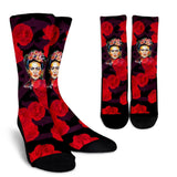 Frida Kahlo Red Flowers Socks