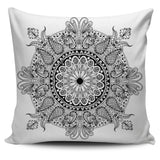 Black and White Delicate Mandala Pillow Cover