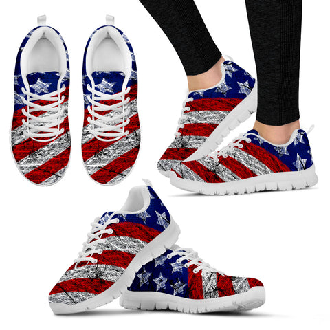 American Pride Women's Sneakers - I Love the USA Shoes - I Heart America Female Tennis Sneakers