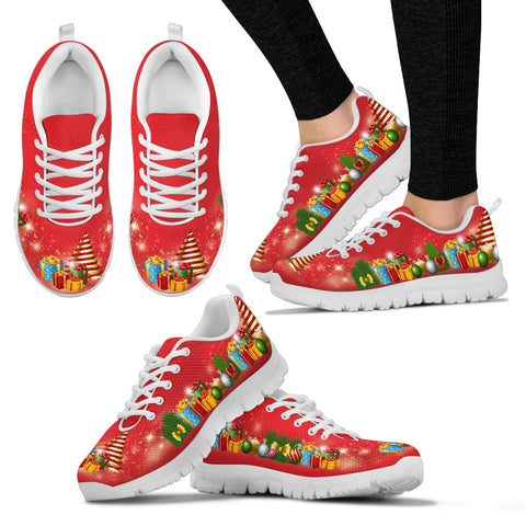 Red Gifts of Christmas Women's Sneakers - Holiday Shoes - Christmas Present Merry Shoes
