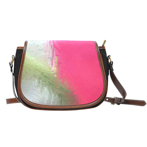 Pink and Green Painted Cross Body Bag