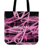 """Persevere"" Breast Cancer Awareness Canvas Tote"
