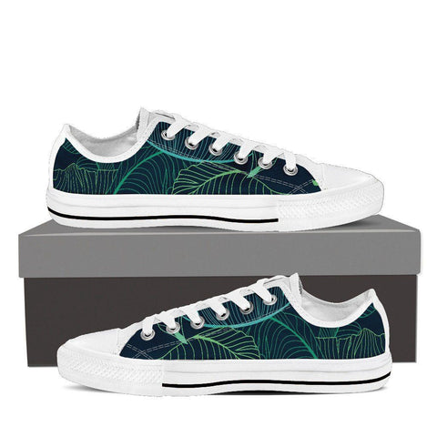 Women's Outlined Leaves Canvas Low Tops