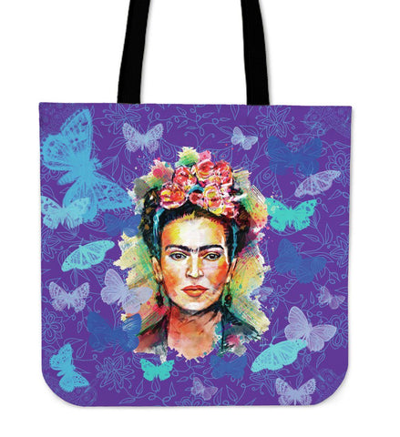 Frida Kahlo Blue Canvas Tote