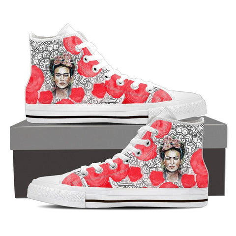 Women's Frida Kahlo Black White and Red High Tops