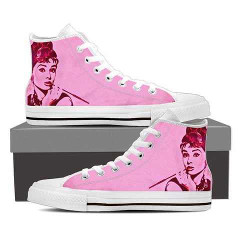 Women's Audrey Hepburn Pink High Tops