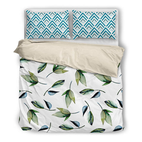 Blue-Green Leaves Mixed Print Duvet Set
