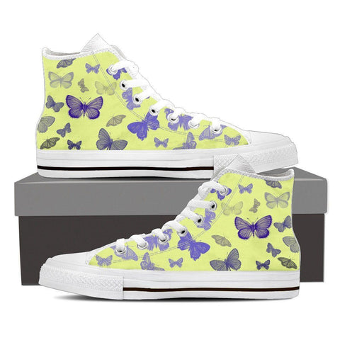 Blue and Yellow Butterfly Women's High Top Canvas Shoes