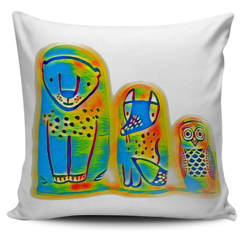 Illustrated Animals Pillow Cover