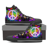 Women's Peace Sign Paint Splatter High Tops (black)