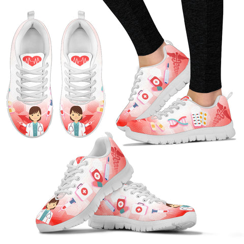 Doctor Women's Sneakers - Women Doc Shoes - Cute Medical Sneakers - Fun Medical Tennis Shoes