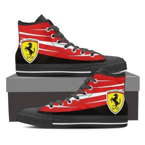 Men's Red Italian F1 High Tops Black