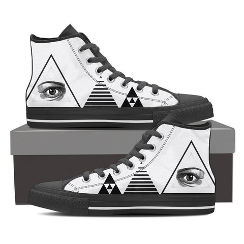 Eye and Triangles Men's High Top Canvas Shoe