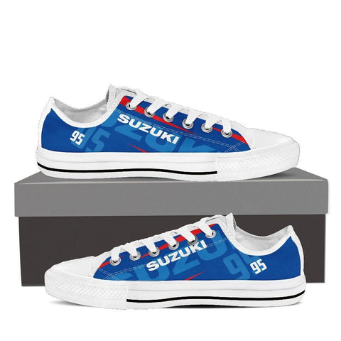 Men's Suzuki GSXR Blue Low Tops - White