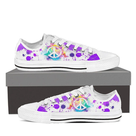 Women's Peace Sign Paint Splatter Low Tops