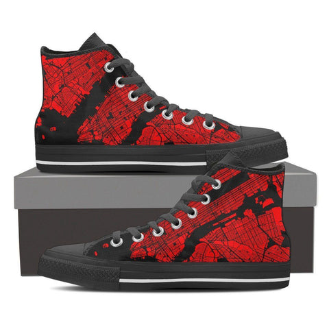 Men's NYC Map High Top Red