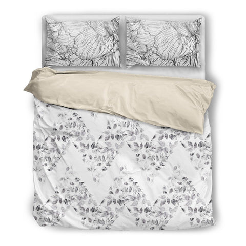 Chevron Stripe Leaves Duvet Set