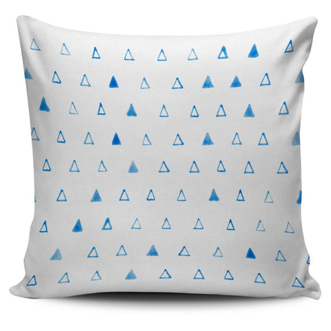 Blue Watercolor Triangles Print Pillow Cover