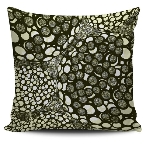 Circles Print Green and Grey Pillow Cover