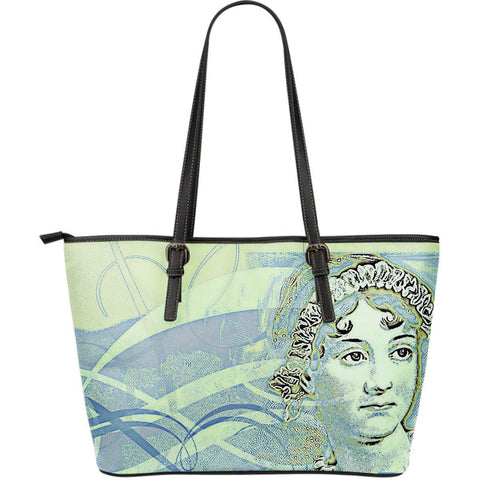 Jane Austen Blue Large Leather Tote