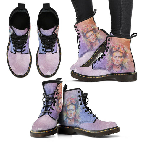 Women's Frida Kahlo Premium Boots - Watercolor Violet