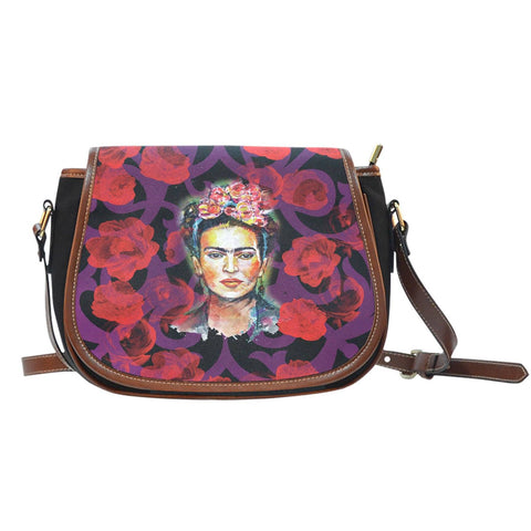 Women's Frida Kahlo Red Flowers Cross Body Bag