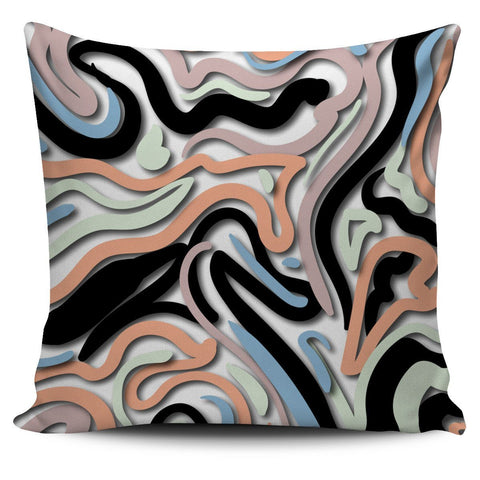 Pastel and Black Swirls Pillow Cover
