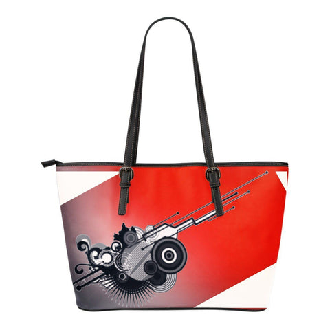 Red and Navy Abstract Graphic Small Leather Tote
