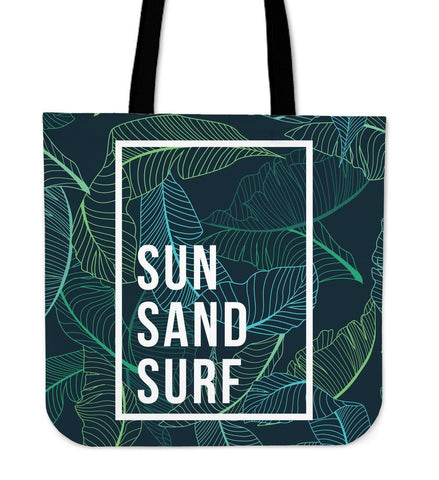 Sun Sand Surf Summer Canvas Tote