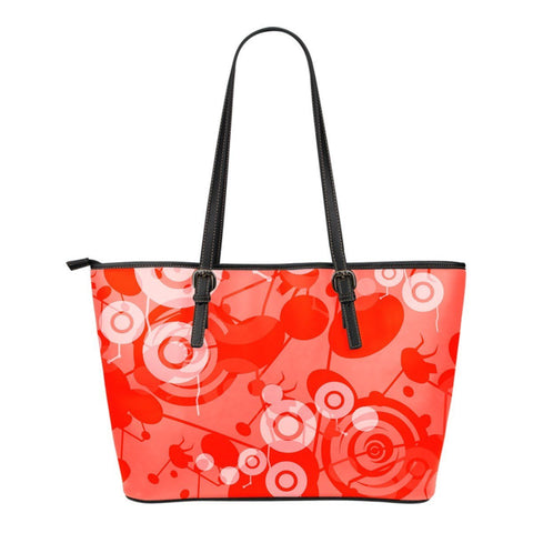 Circles Abstract Print Leather Small Tote