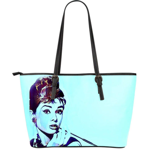 Audrey Blue Large Leather Tote