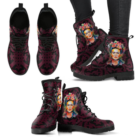 Women's Frida Kahlo Black and Burgundy Boots