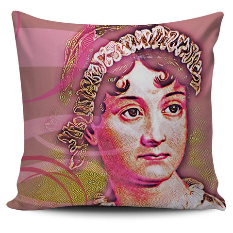 Jane Austen Pink Pillow Cover