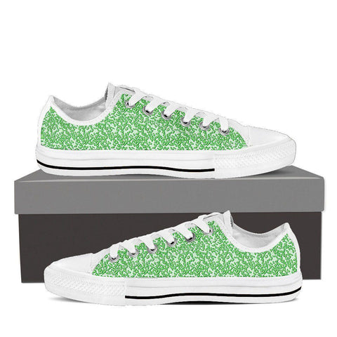 Women's Green Micro Print Low Tops