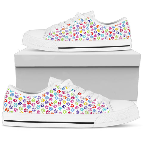 Painted Paw Print White Low Top Women's Sneaker | Cute Fun Dog Print Woman Shoes
