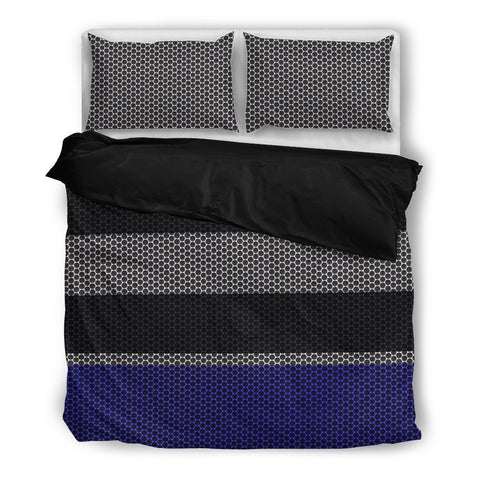 Blue Mesh Stripes Duvet Set