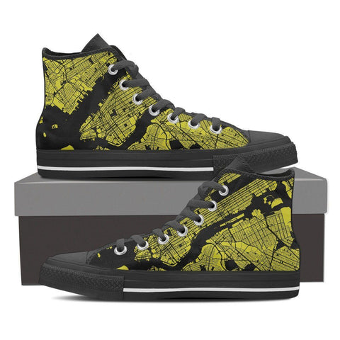 Men's NYC Map High Top Gold